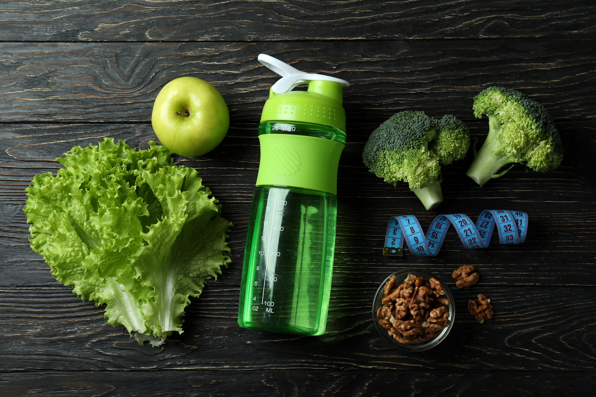 Concept of healthy nutrition on wooden table